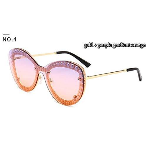 QDE Sonnenbrillen Eingebettete Perle Clip Art Sonnenbrille Frauen Brille Uv400Mode Weibliche Shades, E