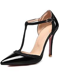 Damas Sandalias Sexy High Heel Sandals, Señalo Sandalias, Sandalias de Hueco, Hebillas, Sandalias,Black,Cuarenta y Cuatro
