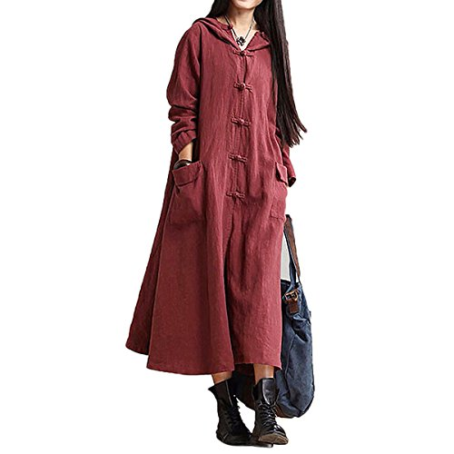 Women Linen Cotton Hooded Loose Maxi Dress With Pocket Causal Boho Coat Dress