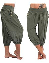 JLTPH Bombacho Mujer Pantalones Harem Sueltos Cintura elástica Aladdin  Bloomers Color Sólido Button Pocket Sport Pantalones 131eefe834ad