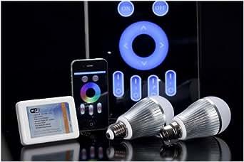 Easybulb milight iPhone contrôlée Lumière Ampoule LED à couleur changeante LED RGBW + Wifi Boîte, également Android, iPad, iPad, télécommande domotique contrôlable, teinte LED type de culot à vis (E27)