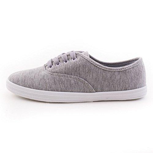 Sneaker Stringate Da Donna Alla Moda Low Top In Tessuto Grigio