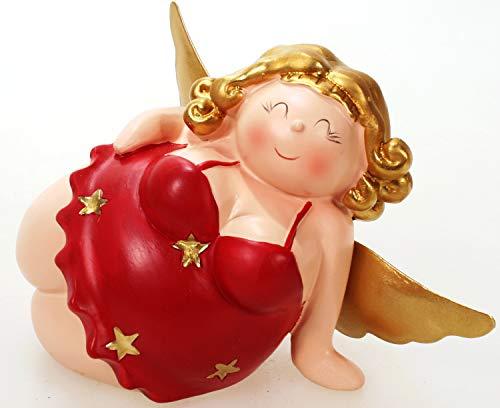 Schick-Design Engel Molly rot 12 cm Kantenhocker Mädchen Rubensfrau mollige Dame in Dessous Dicke Frau Badezimmer Figur
