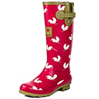 SPYLOVEBUY Adjustable Buckle Flat Festival Wellies Rain Boots Red Chicken Sz 8