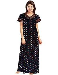 YUKATA Womens Cotton Printed Nighty, Free Size(Y.BB) Black