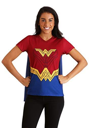 DC Comics Wonder Woman Cape Women's Fancy Dress Costume T-Shirt Large