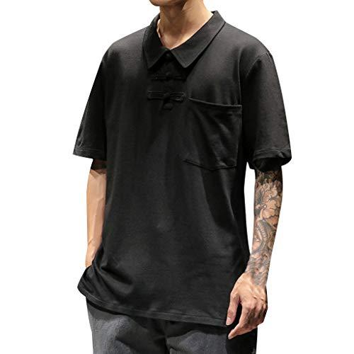 Tohole Herren T-Shirt Uni T-Shirt Slim Fit LäSsiges T-Shirt Mit MäNner Casual Männer Casual Lässige Retro Buckle Revers Kurzarm T-Shirt TopKlassischer Stil Einfach Street Style(schwarz,2XL)