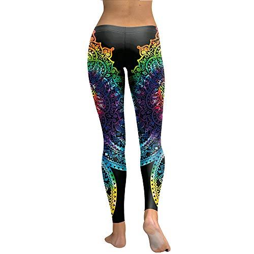 Shuo lan hu wai Mujeres Mandala Flower 3D Gradiente Legging Fitness Leggins Pantalones de Cintura Alta Pantalones Yoga Legging Deportes (Color : Multi-Colored, Size : S)