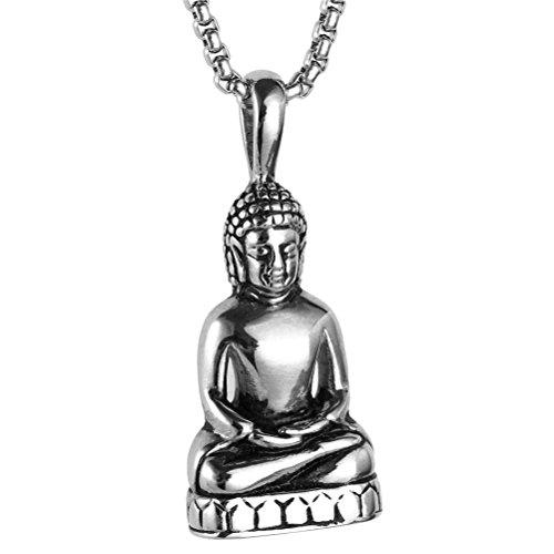 Sakyamuni Buddha-statue (HIJONES Herren Edelstahl Gold/Silber Vintage Amitabha Buddha Statue Anhänger Halskette Silber)