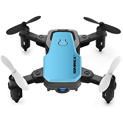 SIMREX X300C Mini Drone con Fotocamera WiFi HD FPV Pieghevole Quadricottero RC Rtf 4CH 2,4 GHz Telecomando Senza Testa [Altitude Hold] Super Easy Fly per Allenamento - Blu