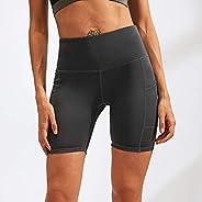 XINGI Women Quick Dry Yoga Shorts Compression Workout Tights Gym Training Fitness Sport Shorts Side Pockets Tu