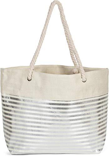 styleBREAKER Bolso para la Playa XXL de Mujer con Estampado de Rayas metálicas y Cremallera, Bolso de Hombro, Bolso para Compras 02012281, Color:Beige-Plata