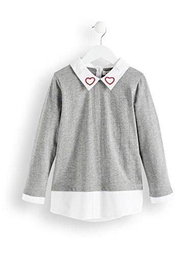 RED WAGON Mädchen Bluse Layering-Look, Grau (Grey Marl), 146 (Herstellergröße: 11 Jahre)