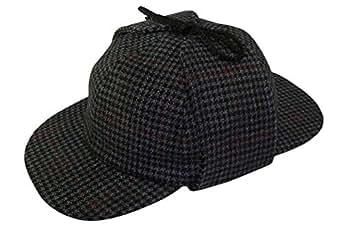 Pasquale Cutarelli Tweed Sherlock Holmes Deerstalker Herrenmütze aus Wolle (9167) Grau 55cm
