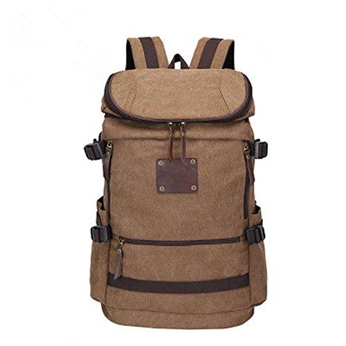 Wanderrucksack Rucksack Schulter Tasche große Kapazität Reisen Canvas Outdoor-Freizeit Computer Tasche Brown