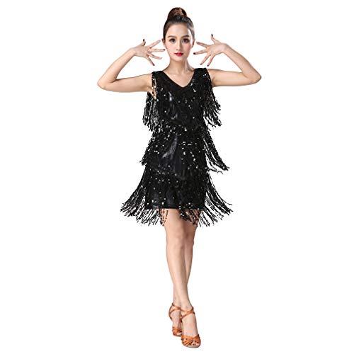 Dance Kostüm Contemporary Schwarz - Magogo Latin Dance Dresses Pailletten Quasten Abschlussball-Kostüm Großer Gatsby Motto Partyrock (M, Schwarz)