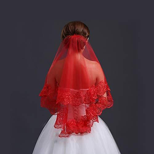 WYEING. Für Damen Eins Schicht Spitze-Stickerei Brautschleier zum,Ellenbogenlange Brautschleier Spitze gestickt Braut Schleier weiß/beige/rot, 47 * 55 Zoll,Red -
