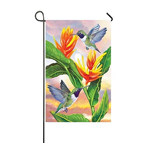 WEERQ Spring Flying Hummingbird Garden Flag - Double Sided Holiday Decorative Outdoor House Flag 12.5x18 inch -