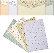 NUOBESTY A5 Stationary Paper and Envelopes Set, Floral Letter Writing Paper Stationery Envelopes Kit (30 Envel