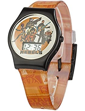 Star Wars Rebels Unisex Digital Uhr mit Zifferblatt-Digital Display und Orange Kunststoff Gurt swrb1