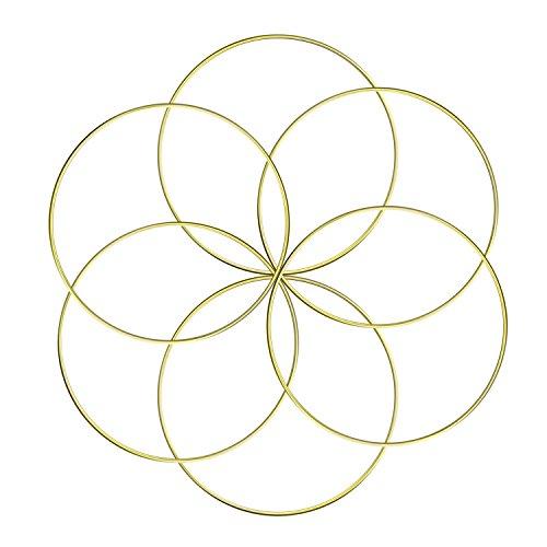 Aboat 6er Set Traumfänger Metall Ringe Makramee Ring für Traumfänger und Basteln Gold 15,2 cm