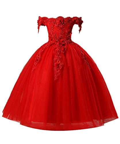 Misshow Kleid Hochzeit Mädchen kinderkleid Applique und Perle Partykleid 92 104 116 128 140 152 164
