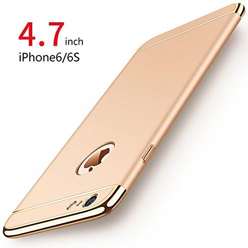 """PRO-ELEC iPhone 6 Coque/iPhone 6S Coque, [3 en 1 Series] Coque Très Mince [avec Verre Trempé] Non Slip Surface Antichoc & Electro Placage Texture Protector pour iPhone 6 iPhone 6S (4.7"""") - Or"""