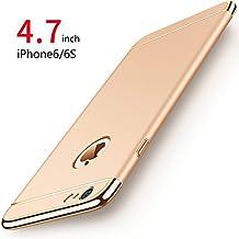Funda iPhone 6/6s, PRO-ELEC Carcasa iPhone 6 / 6s con [ Protector de Pantalla de Vidrio Templado ] 3 en 1 Desmontable Ultra-Delgado Anti-Arañazos iPhone 6 Funda Protectora - 4.7 pulgada - Oro