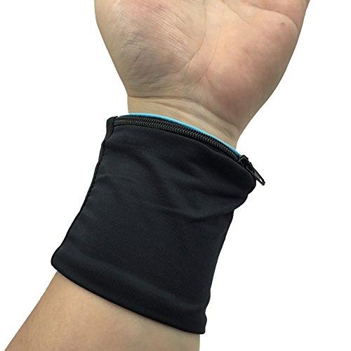 EMVANV Handgelenk Kompression Gurt und Unterstützung, elastisches Reißverschluss Design Handgelenk Stütze Tasche Wrap Träger Fitness Radfahren Sport Armband Volleyball Badminton Schweißband, hellblau