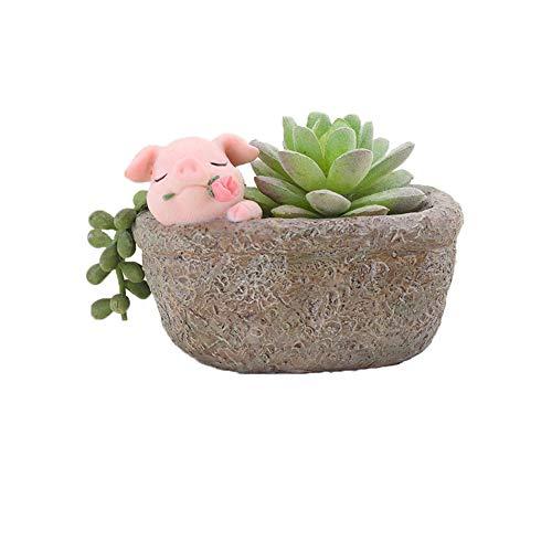 Youfui Home Decor Topf, Sukkulenten-Übertopf, Dekoration für Zuhause und Büro Rose Pig (John Deere Container)