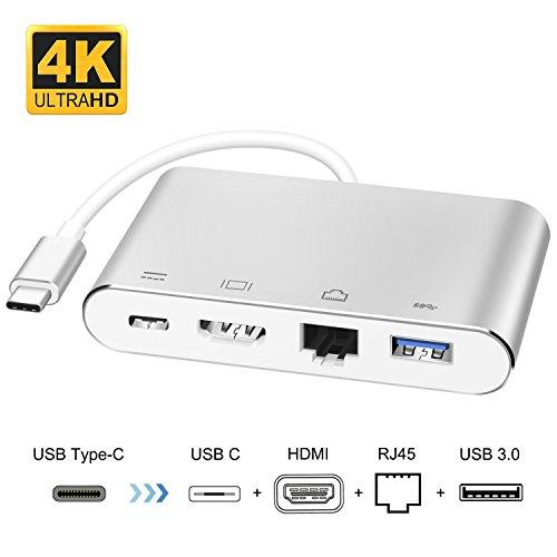 Typ C zu HDMI Adapter,ink-topoint 4-in-1 USB 3.1 zu HDMI 4k + RJ45 Gigabit Ethernet + Power Delivery + USB 3.0 Port für neues MacBook / MacBook Pro2015/2016/2017,Dell XPS,Acer,Lenovo,Samsung Galaxy S8 (A C Power Adapter)