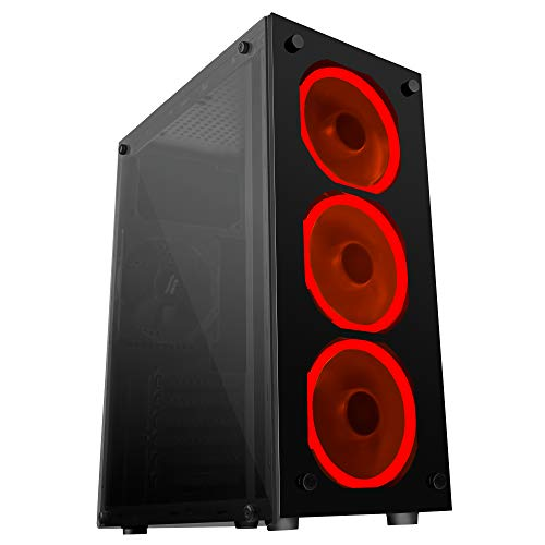 Mars Gaming MCG RED, Midi-Tower, PC, Acero, ATX,Micro-ATX, Negro, Juego