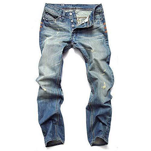 Versaces Männer Jeans Slim Fit Loch Cowboy Hellblau Gerade Knopf Hosen, Light Blue, 36