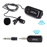 2.4G Wireless Microphone With Condenser Mic the Lavalier Mini Lapel Wireless Microphone and Transmitter is perfect for Teaching, Interviewing, Vlogging, YouTube video, Conference and more by iZEN