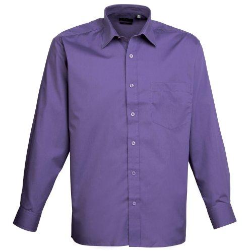 Premier Langarm Popeline-Hemd Violett
