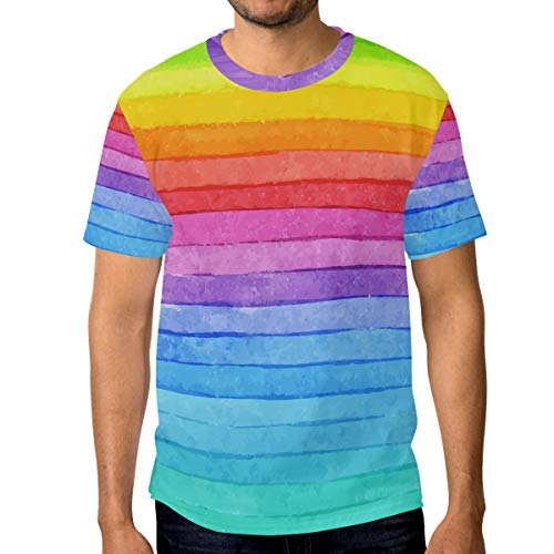 T-Shirt für Männer Jungen Rainbow Stripe Custom Short Sleeve -