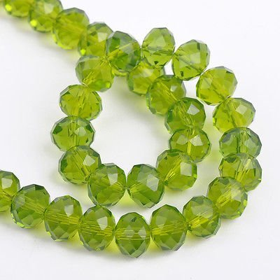 AM Jewellery Making Rondelle-Faceted-Crystal-Glass Beads Green 8 Mm -Pack of 100 Pcs