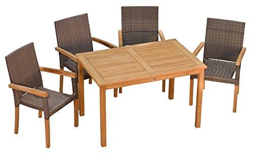 Sitzgruppe Teak Tisch London 120 cm, 4X Stapelsessel Livorno robust & elegant ✓