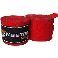 """Meister - Vendas de mano semielásticas para adultos de 2 m para MMA y boxeo (par) – todos los colores, 180"""" Adult Length, Rojo"""