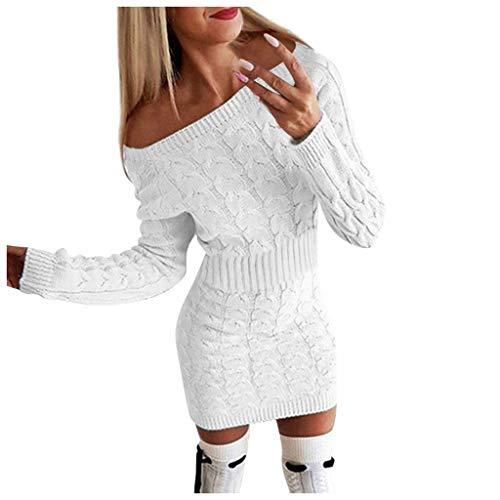 Robe Tricot Mode Femmes,SANFASHION CHantail Tunique Mi-Automne Hiver Chaud Pullover Longues Slim Sexy Pull s Torsadés