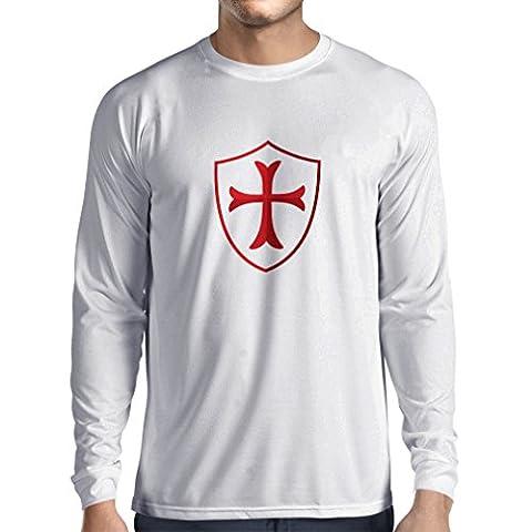 T-shirt à manches longues Chevalière Croix Rouge les templiers (XX-Large Blanc Multicolore)