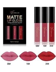 Bluestercool 3Pcs Nouveau Mode Matte Imperméable Rouge à lèvres Liquide Cosmétiques Kit Lip Gloss
