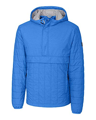 Cutter & Buck Herren Lightweight Primaloft Fill Rainier Half Zip Popover Jacket Daunenalternative, Mantel, Blue Melange, Mittel