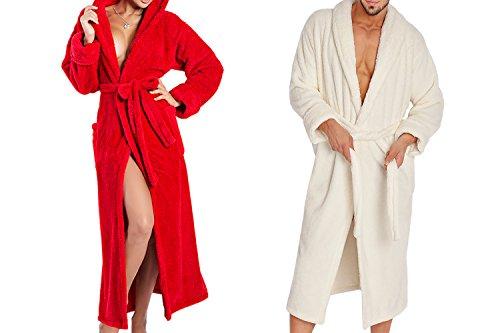Ein Set bestehend aus 2 Bademänteln ist ein ideales Geschenk, für den gemeinsamen Wohlfühlfaktor in kalten Nächten. (XS-2XL) Ecru/Rot