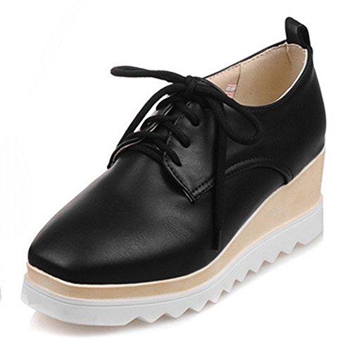 Aisun Femme Mode Talon Compensé Plateau Chaussures de Ville Derbies Noir