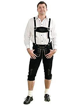 Trachtenset 5-tlg. schwarz bestehend aus Kniebund Lederhose mit Hosenträger, Haferlschuhe Glattleder, Hemd (rot...