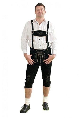 Herren Trachten Kniebundhose schwarz aus feinstem Rindsveloursleder Gr. 52