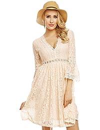 Spitzenkleid Kleid aus Spitze Trompetenärmel Häkel Bordüren Sommer Kleid Abendkleid