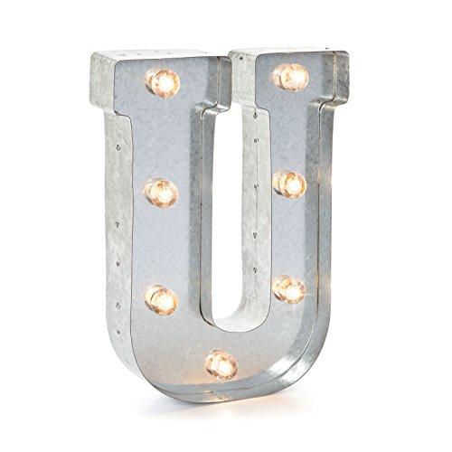 Darice LED Metal-Buchstabe U, Metall, Silver, 25.5 x 19 x 5 cm