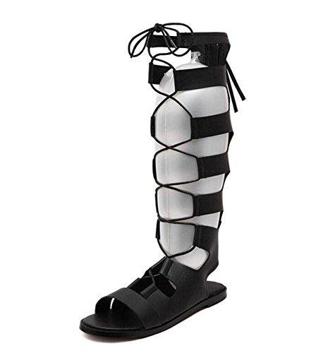 GLTER Donne Scarpe Peep Toe pompa i pattini romani conca pianeggiante sandali punta aperta ad alta tubo caricamenti del sistema freddi Black